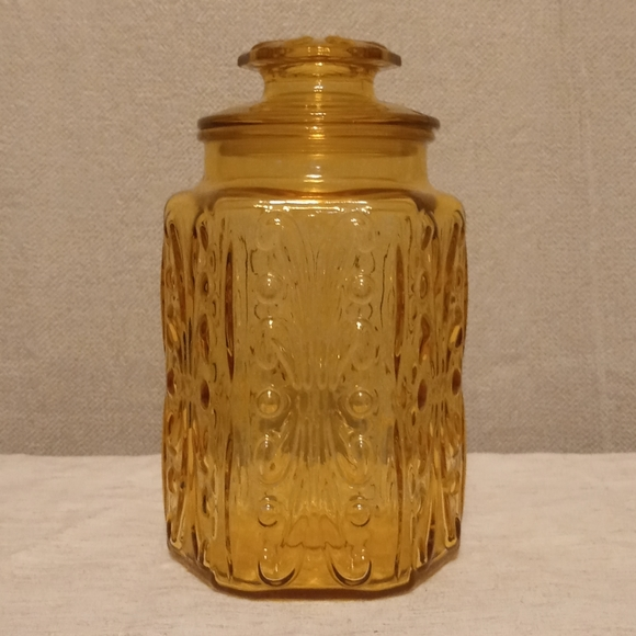 Amber Glass Canister With Lid